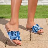 Papuci dama albastri Randela