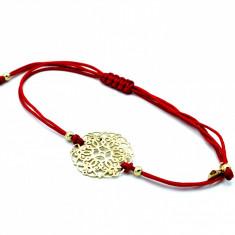 Bratara cu snur rosu si pandantiv aur galben 14K, marime reglabila, cod 179746