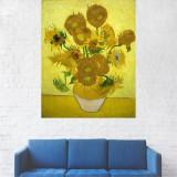 Tablou Canvas, Portret Galben, Vaza cu Flori - 80 x 100 cm