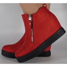 Pantofi platforma rosii foarte comozi (cod 164016)