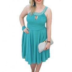 Rochie de seara masura mare, model scurt de nuanta turcoaz