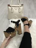 Sandale dama negre cu toc si platforma marime  39, 41+CADOU