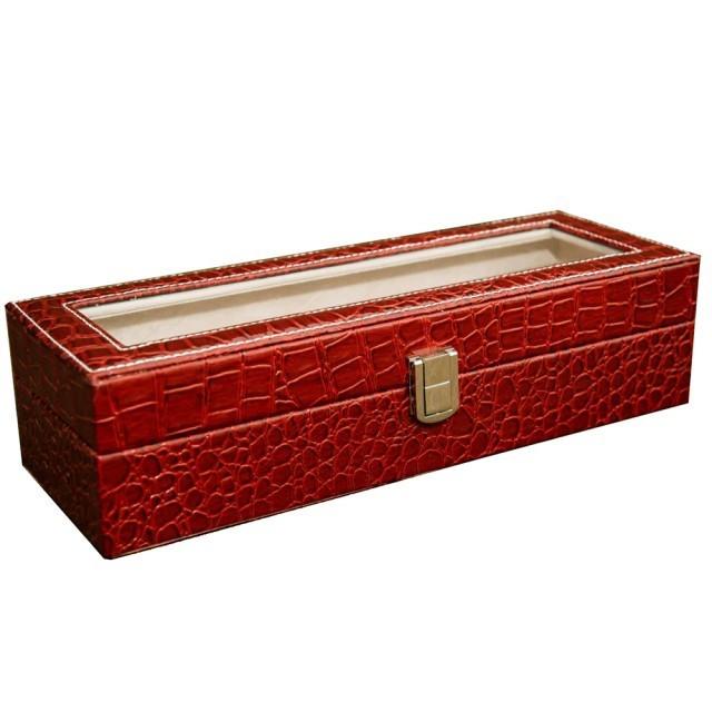 Cutie caseta eleganta depozitare cu compartimente pentru 6 ceasuri, imprimeu...