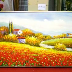 Tablou pictat manual pe panza in ulei Peisaj Camp cu Flori A-025, Natura, Realism