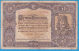 (9) BANCNOTA UNGARIA - 50 KORONA 1920 (1 IANUARIE1920) SERIA 5a001/453998