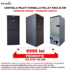 Centrala peleti Fornello Pellet King 25 kw, complet echipata pentru incalzire