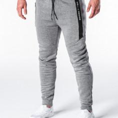 Pantaloni barbati gri slim cu banda siret si buzunare P656