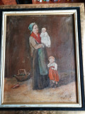 """Pictura """"Familie"""" ulei pe panza, Portrete, Realism"""