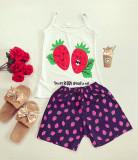 Pijama dama bumbac primavara-vara cu pantaloni scurti bleumarin si maieu alb cu imprimeu Berry