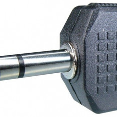 Adaptor jack tata 6,3 mm stereo la 2 x jack mama 3,5 mm stereo - 126649