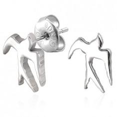 Cercei argintii din oţel - rândunică lucioasă