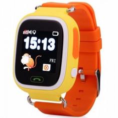 Ceas Smartwatch cu GPS Copii iUni Kid100, Touchscreen, Bluetooth, Telefon incorporat, Buton SOS, Portocaliu