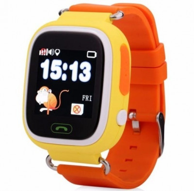 Resigilat! Ceas Gps Copii iUni Kid100, Touchscreen, BT, Telefon incorporat, Buton SOS, Portocaliu foto