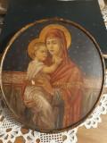 Icoana catolica veche pictata pe lemn