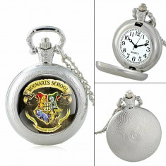 Ceas De Buzunar - HARRY POTTER - Hogwarts School - Argintiu