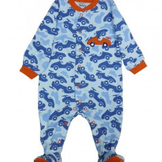 Salopeta / Pijama bebe cu masinute Z77, 1-2 ani, 1-3 luni, 12-18 luni, 3-6 luni, 6-9 luni, 9-12 luni, Albastru