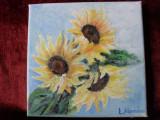Floarea soarelui 3-pictura ulei pe panza, Flori, Altul