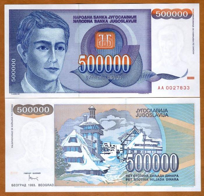 !!! F. RARR :  IUGOSLAVIA - 500.000 DINARI 1993 - P 119 - UNC / SERIA  AA