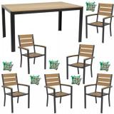 Set mobilier gradina,terasa masa dreptunghiulara cadru aluminiu POLYWOOD NATURAL 150x90x74cm cu 6 scaune 60x57x89cm,6 perne B003017-95310-9520 Raki