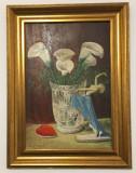 "Pictura Tablou Zhorn Fellner ""Vas cu flori si balerina''"