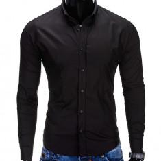 Camasa pentru barbati, neagra, simpla, uni, slim fit, elastica, cu guler, bumbac - K219