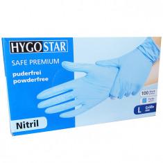 Manusi nitril Safe Premium marimea L, albastre, 100 bucati/cutie, nepudrate