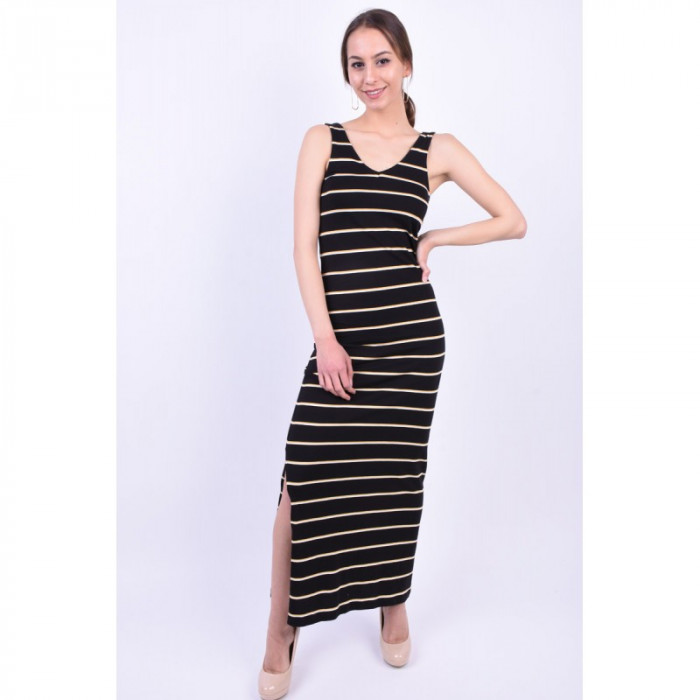 Rochie Bumbac Only Abbie V-Neck Black Stripes Yellow