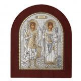 Icoana Sfintii Arhangheli Mihail si Gavril. Icoana Argintata 14.7×18 cm COD: 1402