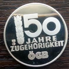 (A839) MEDALIE DIN ARGINT AUSTRIA - 50 JAHRE ZUGEHÖRIGKEIT OGB - 10 GR., AG 925