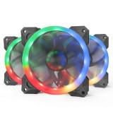 Set 3 ventilatoare Redragon F008 120mm iluminare RGB