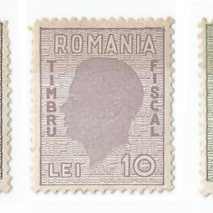România, lot 215 cu 3 timbre fiscale gen., Mihai pe fond ghiloşat, em. I, NG/MNH