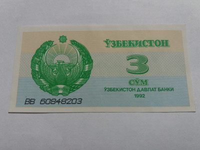 UZBEKISTAN 3 SUM / SOM 1992 UNC foto
