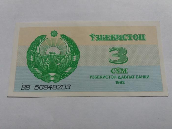UZBEKISTAN 3 SUM / SOM 1992 UNC