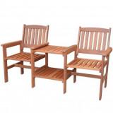 Set masa cu scaune pentru balcon, Strend Pro Kolding, lemn de meranti, maro