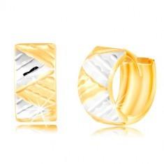 Cercei din aut de 14K - cerc lat cu triunghiuri din aur alb și galben