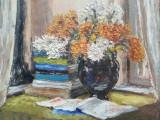 Tablou natură statică flori, ulei pe carton, semnat, 42 x 38, sticla si ramă