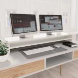 Suport monitor, alb foarte lucios, 100 x 24 x 13 cm, PAL