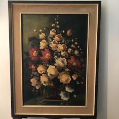 Tablou,pictura  veche franceza,ulei pe panza,flori in vaza,semnat