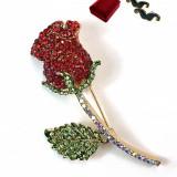 Brosa Rose auriu cu Cristale Swarovski