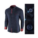 Cumpara ieftin Camasa pentru barbati, in carouri, bleumarin, premium, slim fit, casual - Red Polo
