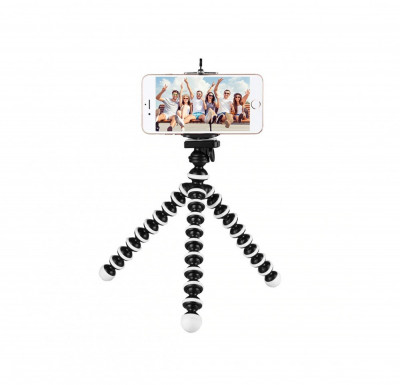 Suport adaptor telefon la trepied + mini trepied flexibil pt orice telefon foto