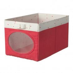 Cutie depozitare jucarii, 25 x 37 x 22 cm, model buline, Rosu