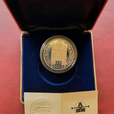 """Moneda de argint - 100 Francs - 15 Ecus """"Charlemagne"""", Franta 1990 - Proof"""