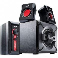 Boxe gaming Genius SW-G2.1 1250, Sistem 2.1, Putere RMS 38W, Statie control si amplificare, Negru/Rosu