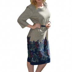 Rochie feminina, culoare gri deschis cu trandafiri bleumarin