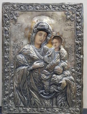 Maica Domnului cu Pruncul, Icoana Romaneasca cu ferecatura din argint, 1835 foto