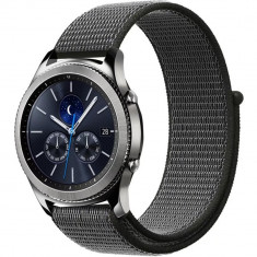 Curea ceas Smartwatch Samsung Gear S2, iUni 20 mm Soft Nylon Sport, Midnight Gray