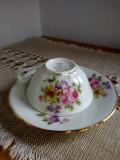 Set ceasca si farfurioara model 1, decor floral CNP France