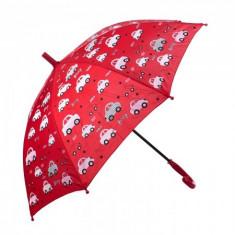 Umbrela pentru fete, automata Beep Car 80 cm Rosu