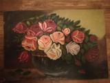 Trandafiri în vas, ulei pe carton, 39x58cm, semnat dreapta jos, Flori, Realism